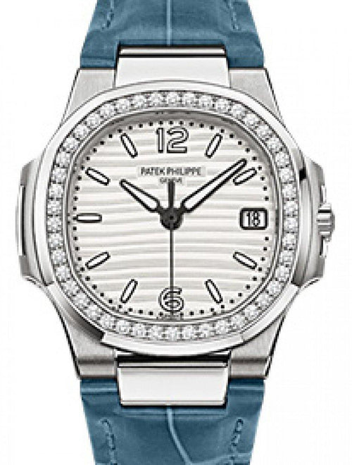 Patek Philippe 7010G-011 Nautilus Ladies 32mm Silver Arabic Index Diamond Bezel White Gold Blue Leather Quartz BRAND NEW - Global Timez