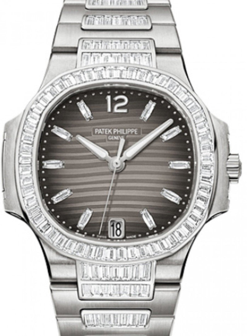 Patek Philippe 7014/1G-001 Nautilus Ladies 33.6mm Charcoal Diamond White Gold Diamond Set Date BRAND NEW