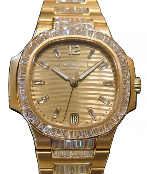 Patek Philippe 7014/1R-001 Nautilus Ladies 33.6mm Champagne Diamond Rose Gold Diamond Set Date BRAND NEW - Global Timez