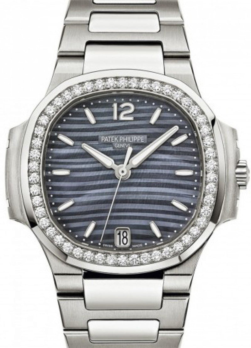 Patek Philippe 7018/1A-010 Nautilus Ladies 33.6mm Blue Mother of Pearl Index Diamond Bezel Stainless Steel Date BRAND NEW