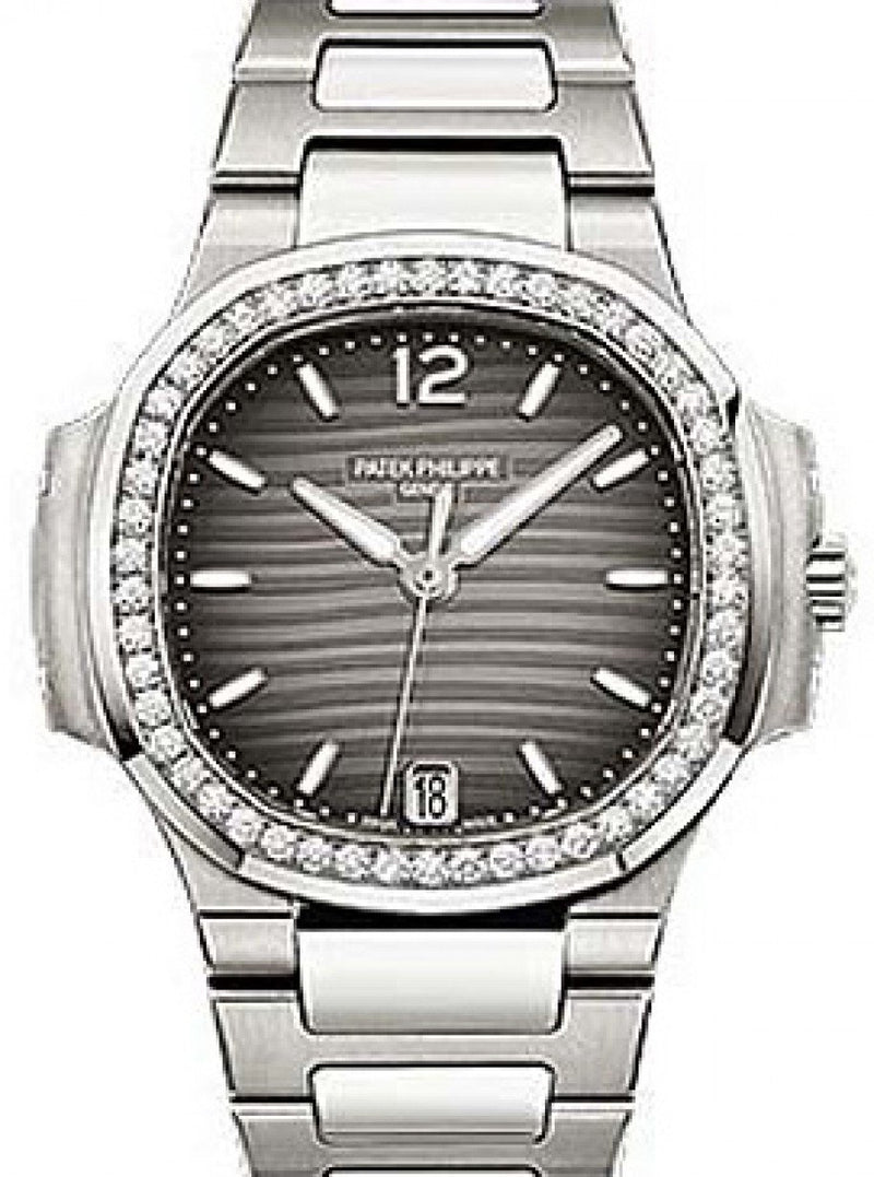Patek Philippe 7018/1A-011 Nautilus Ladies 33.6mm Charcoal Index Diamond Bezel Stainless Steel Date BRAND NEW