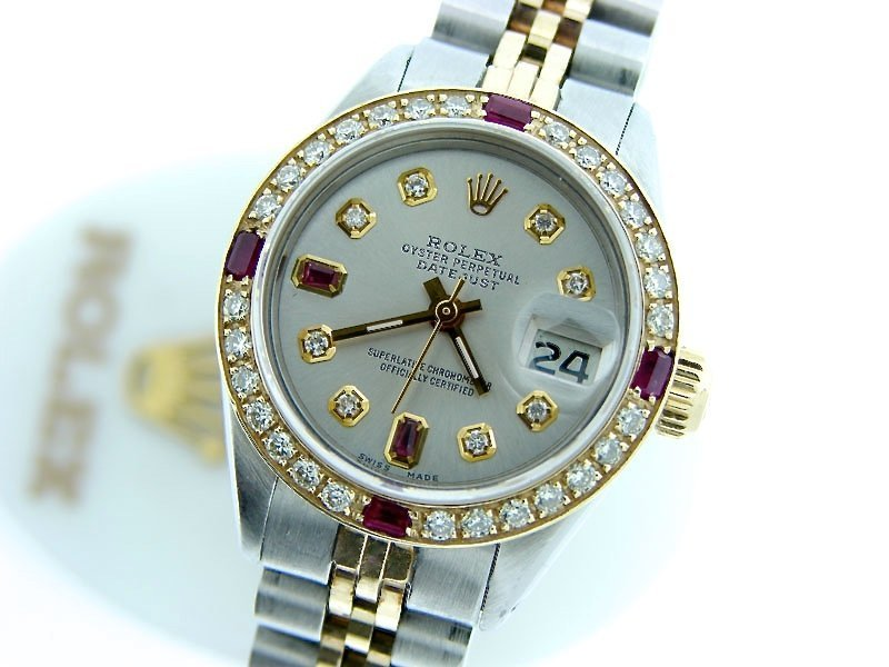 Ladies Rolex Two-Tone Datejust Silver Diamond Ruby PRE-OWNED