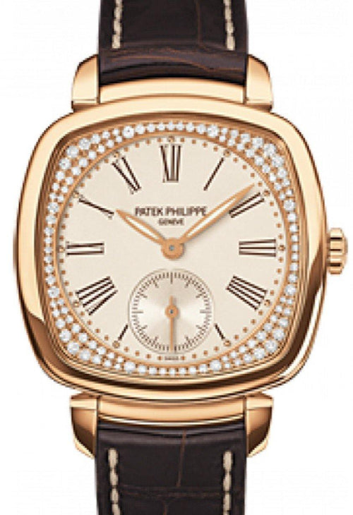 Patek Philippe 7041R-001 Gondolo Ladies 30 × 33.8mm Cream Roman Rose Gold Diamond Set Leather - BRAND NEW - Global Timez