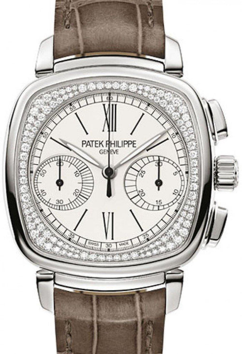 Patek Philippe 7071G-001 Complications Ladies Chronograph 35 × 39mm Silver Opaline Roman White Gold Diamond Set Leather Manual - BRAND NEW - Global Timez