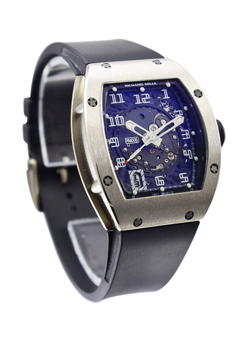 Men's Richard Mille RM 005 38mm in White Gold on Black Alligator Leather Strap with Black Skeletonized Dial RM005 AF WG PRE-OWNED