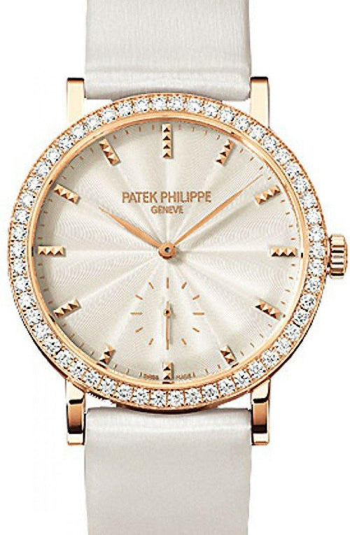 Patek Philippe 7120R-001 Calatrava Ladies 31mm Cream Guillouche Diamond Bezel Rose Gold Leather Manual BRAND NEW - Global Timez