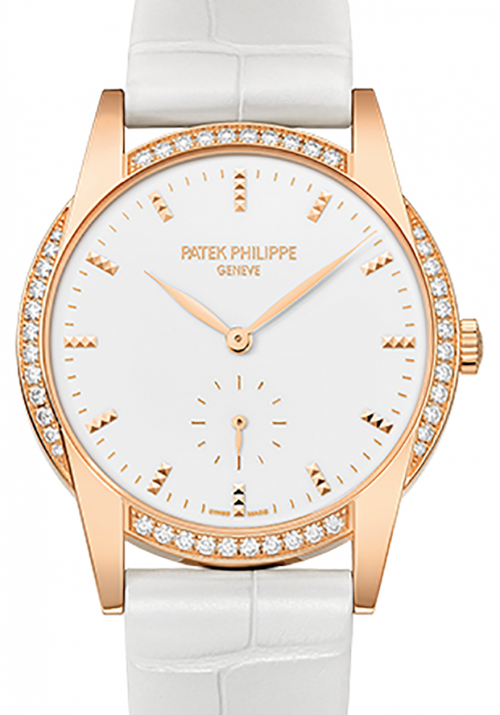 Patek Philippe 7122-200R-001 Ladies Calatrava 33mm White Hobnail Index Diamond Bezel Rose Gold Leather BRAND NEW - Global Timez