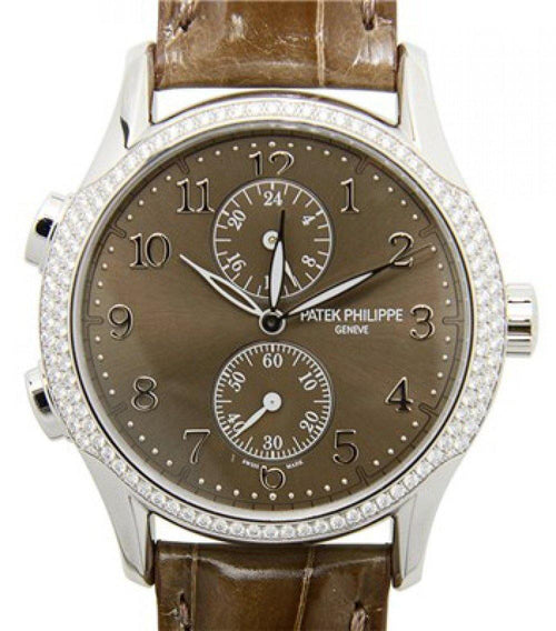 Patek Philippe 7134G-001 Complications Ladies Calatrava Time Travel 35mm Brown Sunburst Arabic Diamond Bezel White Gold Diamond Set Manual BRAND NEW - Global Timez
