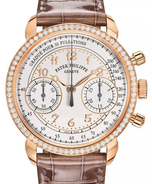 Men's Patek Philippe Complications Silver Opaline Arabic Dial Diamond Bezel Rose Gold Brown Leather 38mm 7150/250R-001 - BRAND NEW - Global Timez