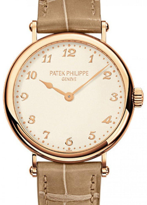 Patek Philippe Calatrava Ladies Silver Arabic Dial Rose Gold Bezel Brown Leather 34.6mm 7200R-001 - BRAND NEW - Global Timez