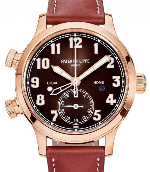 Men's Patek Philippe Complications Brown Sunburst Arabic Dial Rose Gold Bezel Brown Leather 37.5mm 7234R-001 - BRAND NEW - Global Timez