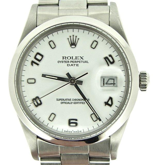 Men's Rolex Stainless Steel Date White Arabic 15000 PRE-OWNED