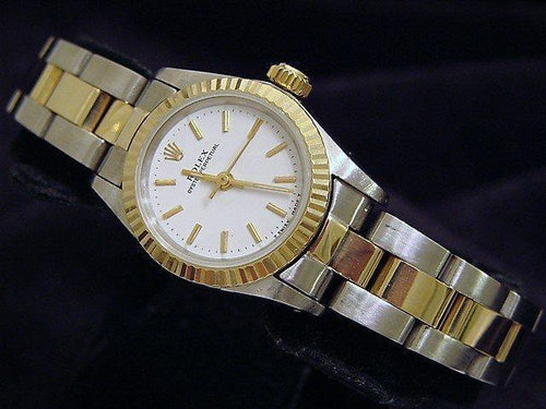 Ladies Rolex Two-Tone 18K/SS Oyster Perpetual White 67193 PRE-OWNED - Global Timez