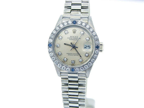 Ladies Rolex White Gold Diamond Datejust with a Silver Dial 6913 PRE-OWNED - Global Timez