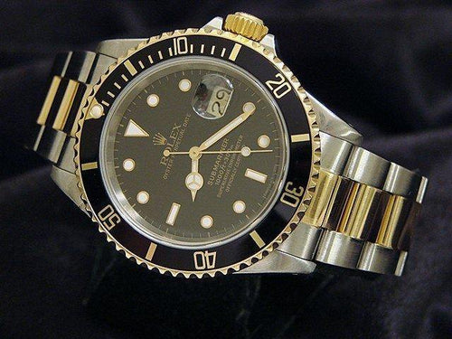 Men's Rolex Two-Tone 18K/SS Submariner Black 16613 PRE-OWNED - Global Timez