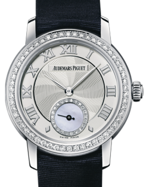Ladies Audemars Piguet Jules Audemars Small Seconds White Gold Silver Roman Dial & Diamond Bezel Silk Bracelet 77228BC.ZZ.A001MR.01 - BRAND NEW - Global Timez