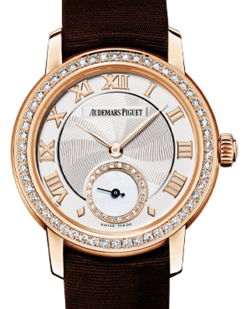 Ladies Audemars Piguet Jules Audemars Small Seconds Pink Gold Silver Roman Dial & Diamond Bezel Silk Bracelet 77228OR.ZZ.A082MR.01 - BRAND NEW - Global Timez
