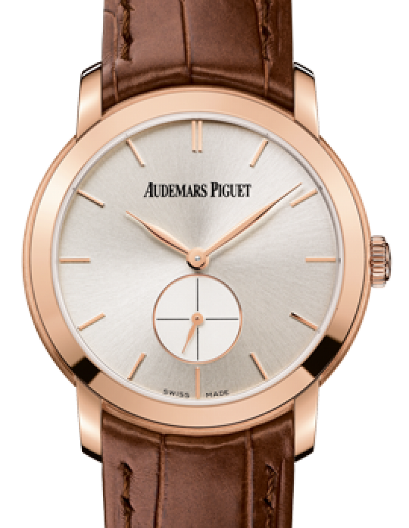 Ladies Audemars Piguet 77238OR.OO.A088CR.01 Jules Audemars Small Seconds 33mm Silver Index Rose Gold Leather BRAND NEW - Global Timez