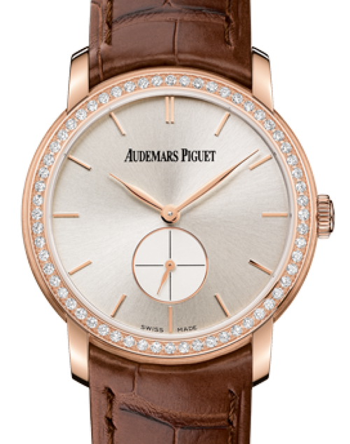 Ladies Audemars Piguet 77239OR.ZZ.A088CR.01 Jules Audemars Small Seconds 33mm Silver Index Diamond Bezel Rose Gold Leather BRAND NEW - Global Timez