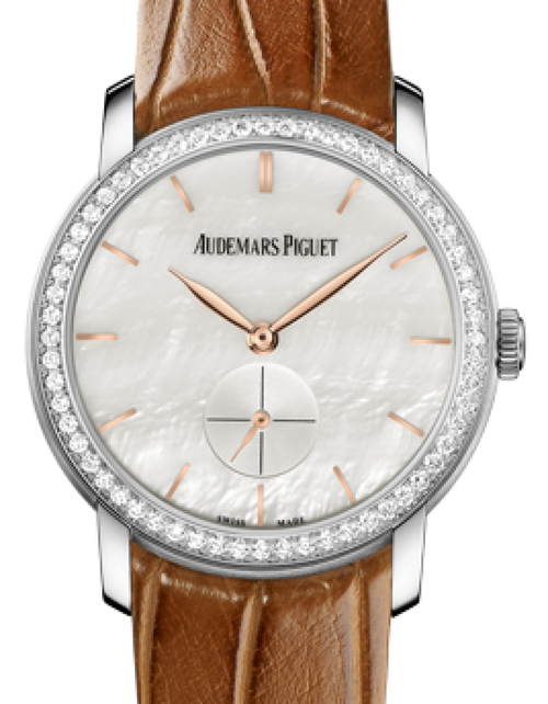 Ladies Audemars Piguet 77240BC.ZZ.A808CR.01 Jules Audemars Small Seconds 33mm White Mother of Pearl Index Diamond Bezel White Gold Leather BRAND NEW - Global Timez