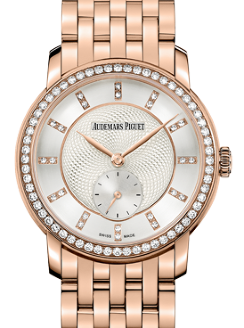 Ladies Audemars Piguet 77251OR.ZZ.1270OR.01 Jules Audemars Small Seconds 33mm Silver Guilloche Index Diamond Set Rose Gold BRAND NEW - Global Timez