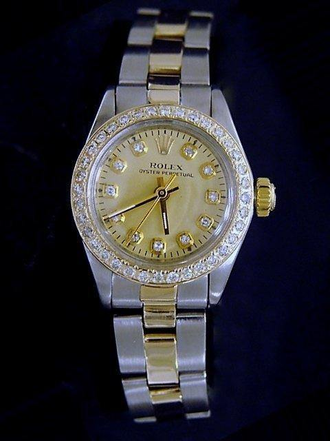 Ladies Rolex Two-Tone 14K/SS Oyster Perpetual Champagne Diamond PRE-OWNED - Global Timez