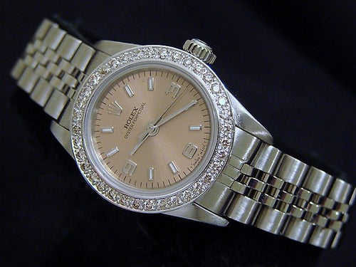 Ladies Rolex Stainless Steel Oyster Perpetual Salmon Diamond 67180 PRE-OWNED