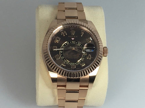 Men's Rolex Sky-Dweller Rose Gold Chocolate Index Dial Fluted Bezel Oyster Bracelet 326935 - BRAND NEW