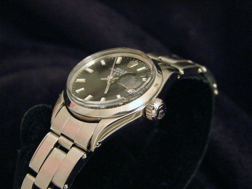 Rolex Ladies Stainless Steel Date Black 6516 PRE-OWNED - Global Timez