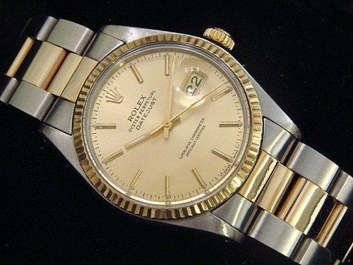 Men's Rolex Two-Tone Datejust Champagne 16013 PRE-OWNED - Global Timez