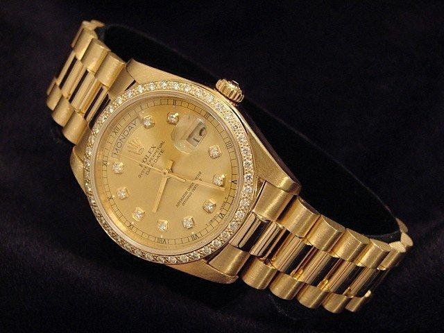 Men's Rolex 18K Gold Day-Date President Champagne Diamond PRE-OWNED