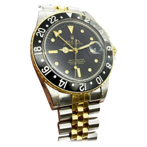 Men's Rolex GMT Master 16753 NIPPLE DIAL 18K Yellow Gold Steel Box Paper COLLECTIBLE PRE-OWNED - Global Timez