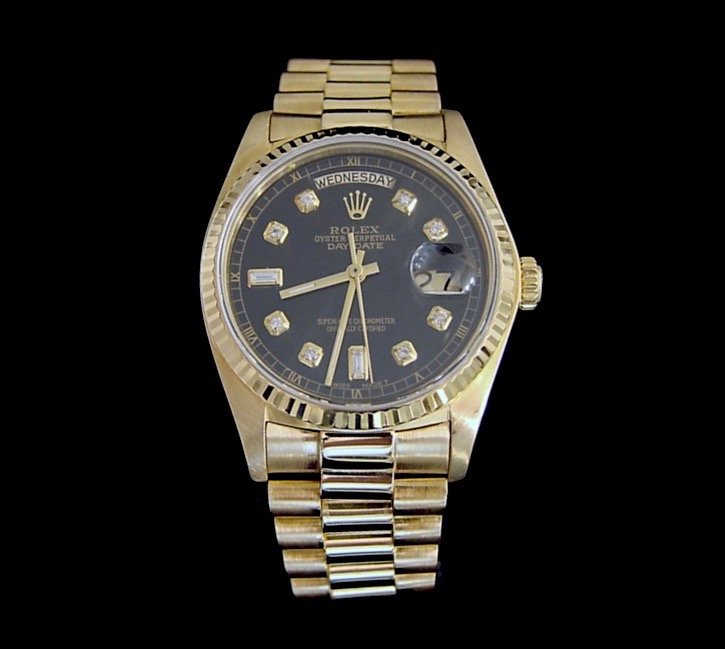 Men's Rolex 18K Day-Date President Diamond Black 18038 PRE-OWNED