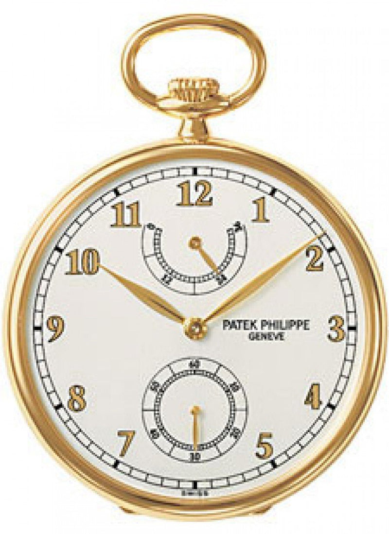 Men's Patek Philippe 972/1J-010 Lepine Pocket Watch 44mm Ivory Arabic Yellow Gold Manual BRAND NEW