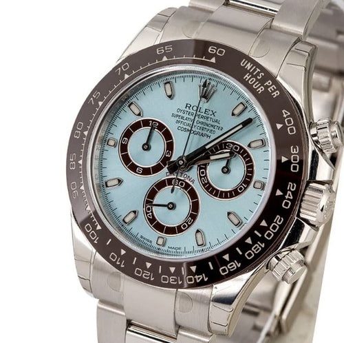 Men's Rolex Daytona Platinum Ice Blue Index Dial Chestnut Brown Ceramic Bezel Oyster Bracelet 116506- BRAND NEW