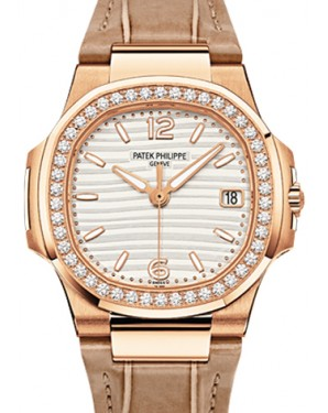 Patek Philippe 7010R-012 Nautilus Ladies 32mm Champagne Arabic Index Diamond Bezel Rose Gold Brown Leather Quartz BRAND NEW - Global Timez