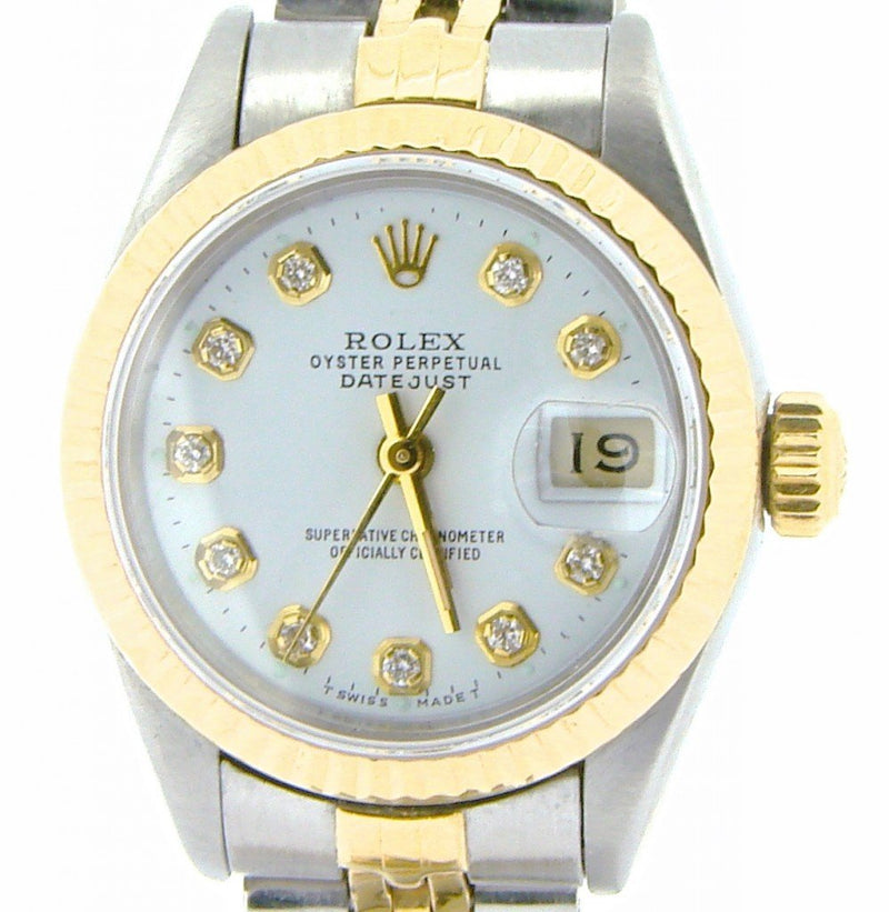 Ladies Rolex Two-Tone 18K/SS Datejust White Diamond 69173 PRE-OWNED