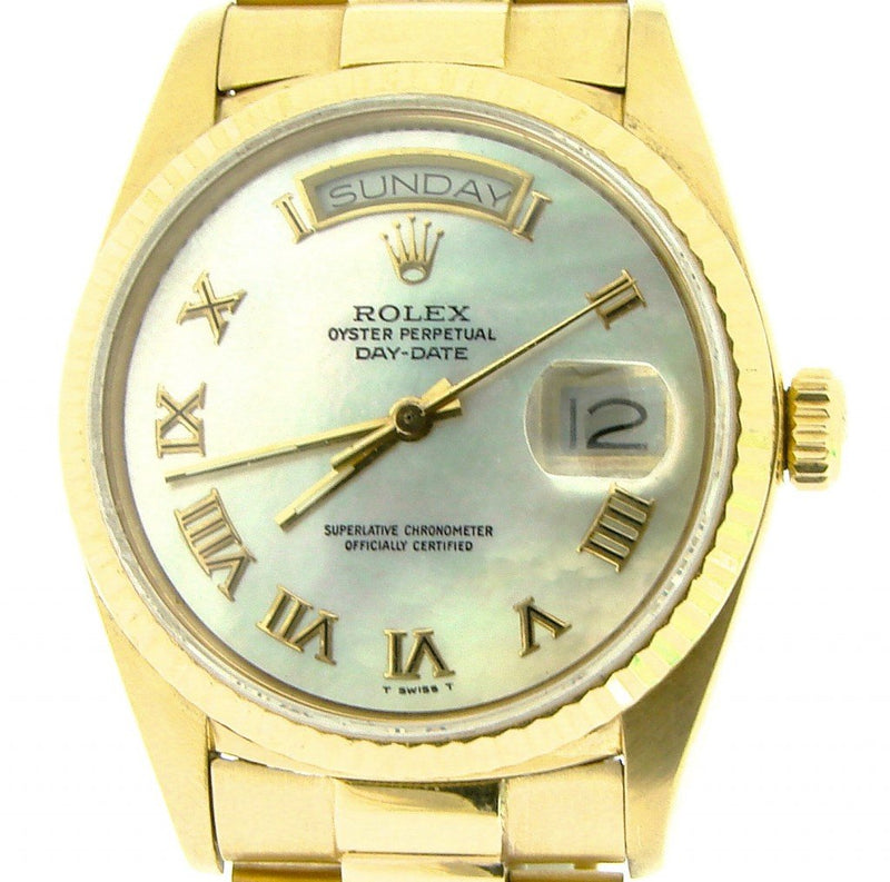 Men's Rolex 18K Gold Day-Date President White MOP Roman 18038 PRE-OWNED