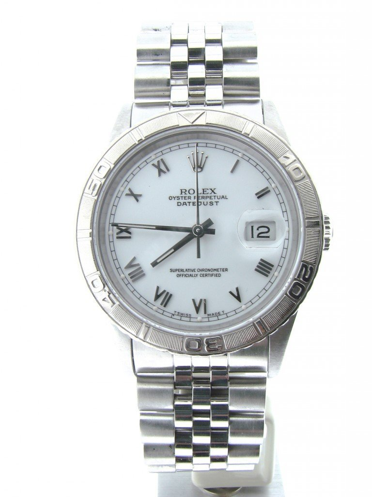 Men's Rolex Stainless Steel Datejust Turn-O-Graph White Roman 16264 PRE-OWNED
