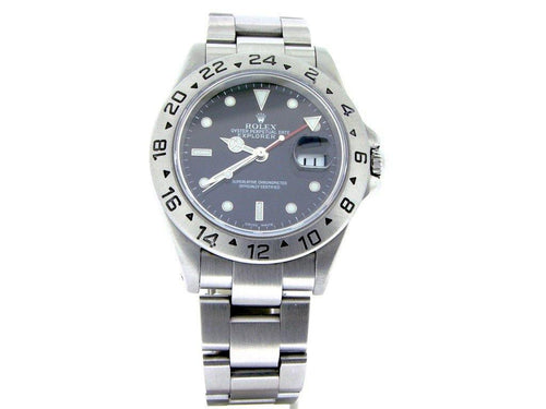 Men's Rolex Stainless Steel Explorer II Black 16570 PRE-OWNED - Global Timez
