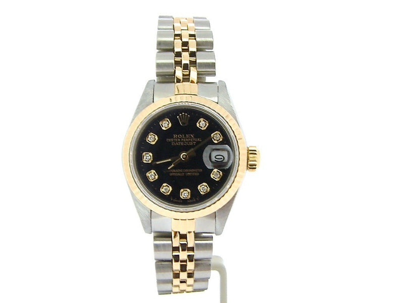 Ladies Rolex Two-Tone 18K/SS Datejust Black Diamond 69173 PRE-OWNED