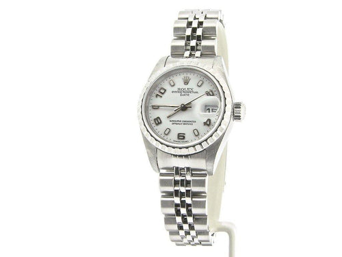 Ladies Rolex Stainless Steel Date White Arabic 79240 PRE-OWNED - Global Timez