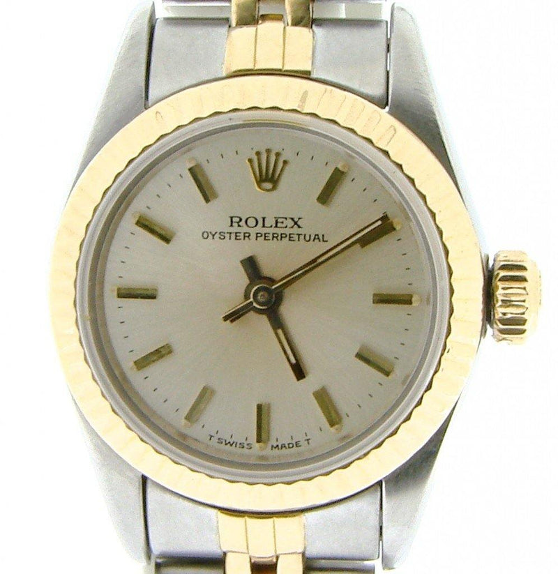 Ladies Rolex Two-Tone 18K/SS Oyster Perpetual Silver 67193 PRE-OWNED