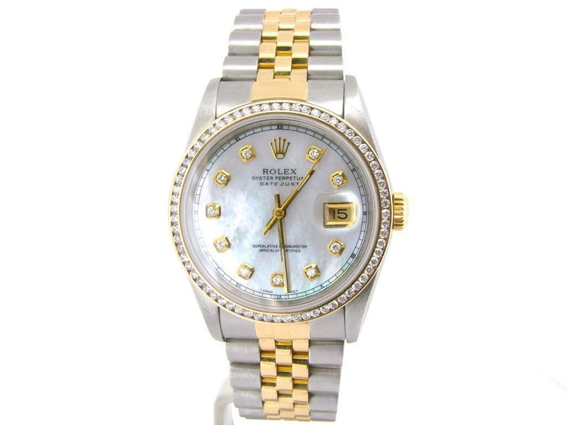 Men's Rolex Two-Tone 18K/SS Datejust White MOP Diamond 16233 PRE-OWNED