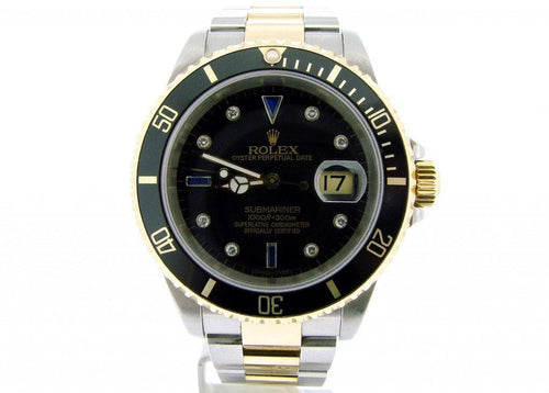 Men's Rolex Two-Tone 18K/SS Submariner Black Diamond 16613 PRE-OWNED - Global Timez