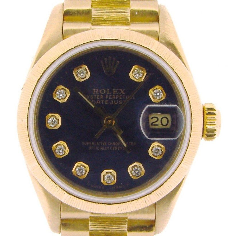 Ladies Rolex 18K Yellow Gold Datejust President Blue Diamond 69278 PRE-OWNED