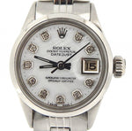 Ladies Rolex Stainless Steel Datejust White MOP Diamond 6516 PRE-OWNED