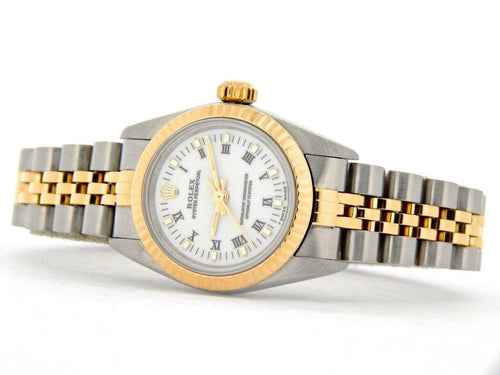 Ladies Rolex Two-Tone 18K/SS Oyster Perpetual White Roman 67193 PRE-OWNED - Global Timez