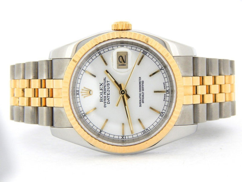 Men's Rolex Two-Tone 18K/SS Datejust White 116233 PRE-OWNED