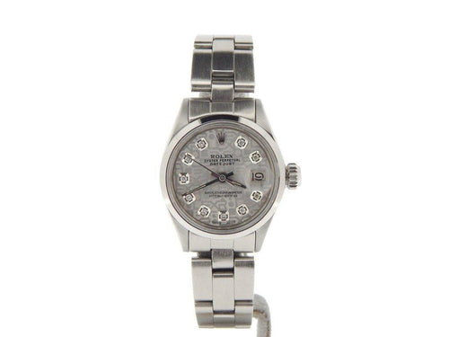 Rolex  Ladies Stainless Steel Datejust Silver Diamond 6916 PRE-OWNED - Global Timez